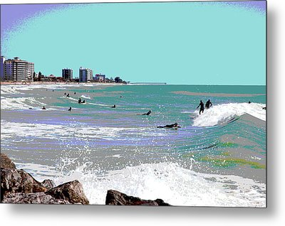 Metal Print featuring the mixed media Surfers At Venice Beach by Charles Shoup