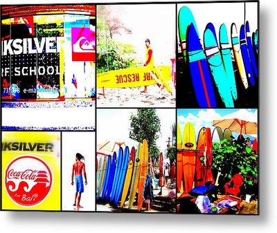 Surfing Bali Beaches Metal Print by Funkpix Photo Hunter