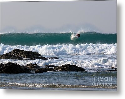 Surfing In Cornwall Metal Print by Brian Roscorla