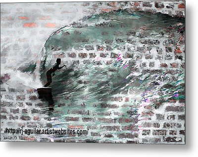 Surfing The Wall Metal Print by RJ Aguilar