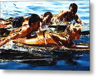 Surfing With The Boys Metal Print by Ron Regalado