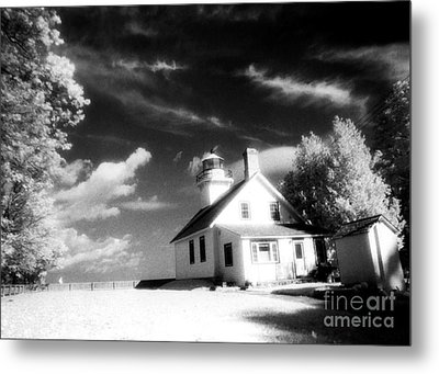 Surreal Black White Infrared Black Sky Lighthouse - Traverse City Michigan Mission Point Lighthouse Metal Print by Kathy Fornal