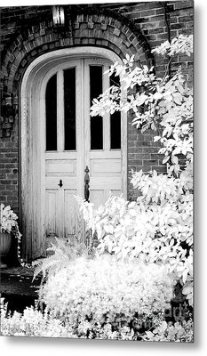 Surreal Black White Infrared Spooky Haunting Door Metal Print by Kathy Fornal