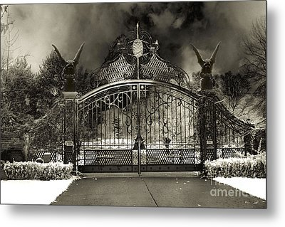 Surreal Gothic Gate And Gargoyles Stormy Haunted Sepia Nightscape Metal Print by Kathy Fornal