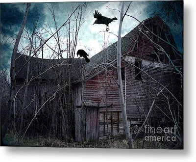 Surreal Gothic Old Barn With Ravens Crows  Metal Print by Kathy Fornal