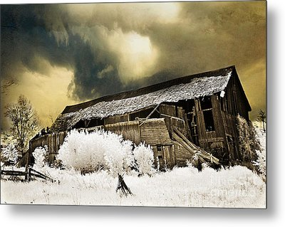 Surreal Infrared Barn Scene With Stormy Sky Metal Print by Kathy Fornal