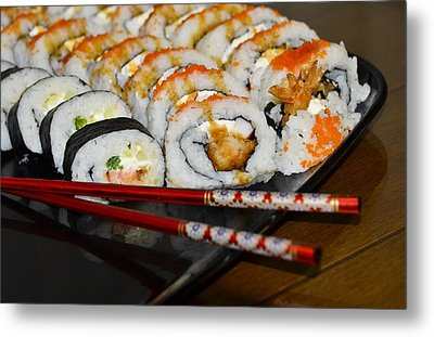 Sushi And Chopsticks Metal Print by Carolyn Marshall