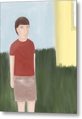 Suspicous Boy In Red Shirt Metal Print by Sarah Countiss