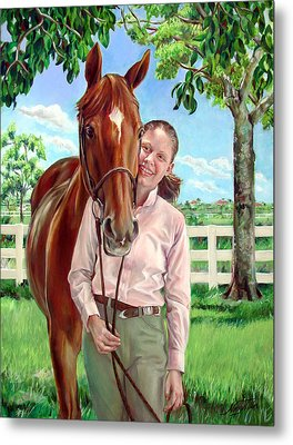 Metal Print featuring the painting Suzanne With Her Horse by Nancy Tilles