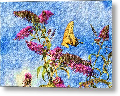 Swallowtail And Butterfly Bush Metal Print by Heidi Smith