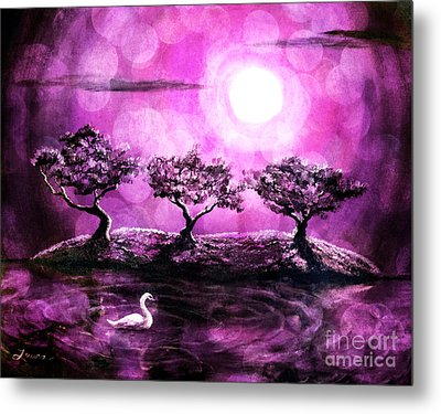 Swan In A Magical Lake Metal Print by Laura Iverson