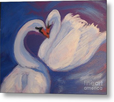 Metal Print featuring the painting Swan Kiss by Diana Riukas