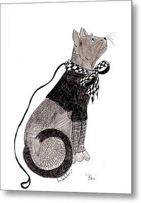 Sweater Cat Named Blue Metal Print