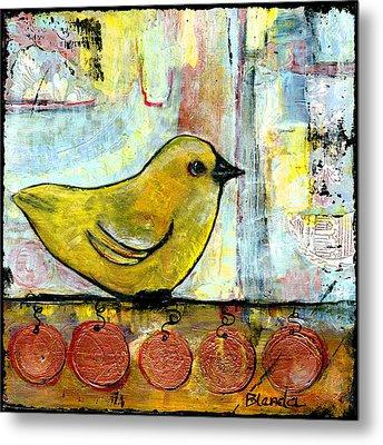 Sweet Green Bird Metal Print by Blenda Studio