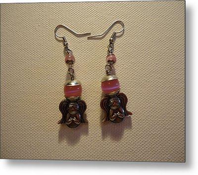 Sweet Pink Angel Earrings Metal Print