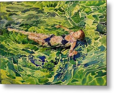 Swimer In Croatian Sea Metal Print