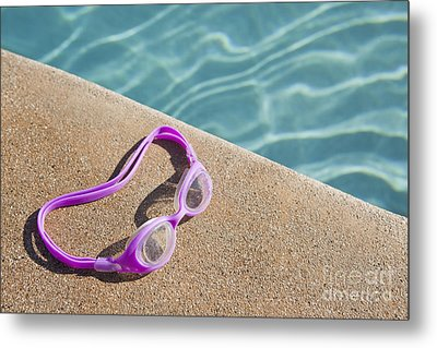 Swimming Pool Side Metal Print by Bryan Mullennix