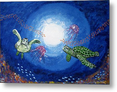 Swimming With Jellyfish Metal Print by Susan McLean Gray