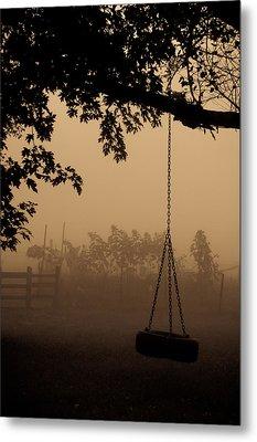 Swing In The Fog Metal Print by Cheryl Baxter