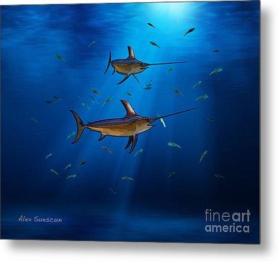 Swordfish Moon Metal Print by Alex Suescun