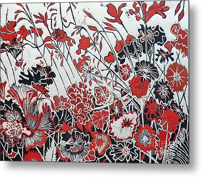 Symphony In Red Metal Print by Belinda Nye