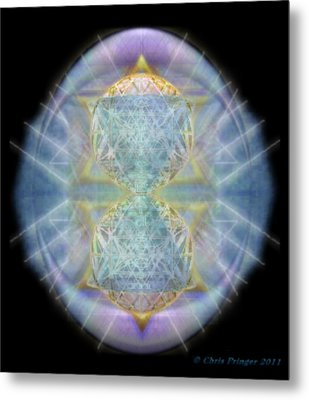 Metal Print featuring the digital art Synthecentered Chalice In Ovoid On Black by Christopher Pringer