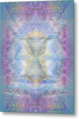 Metal Print featuring the digital art Synthecentered Doublestar Chalice In Blueaurayed Multivortexes On Tapestry by Christopher Pringer