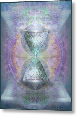 Metal Print featuring the digital art Synthesphered Grail On Caducus Blazed Tapestrys by Christopher Pringer