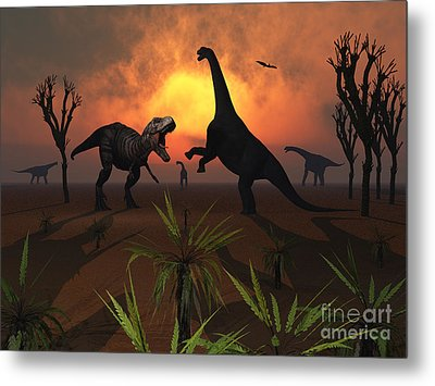 T. Rex Confronts A Group Metal Print by Mark Stevenson