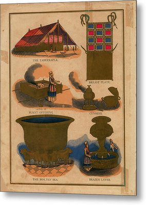 Tabernacle Details Old Testament Brazen Laver Priest Breast Plate Censers Metal Print by Anne Cameron Cutri