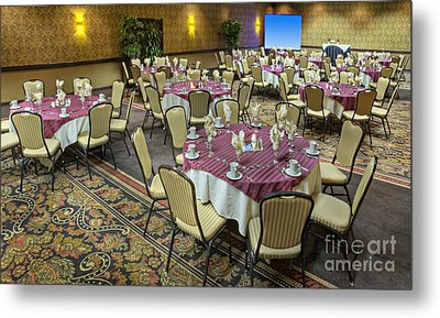 Table And Chairs In Hotel Dining Room Metal Print