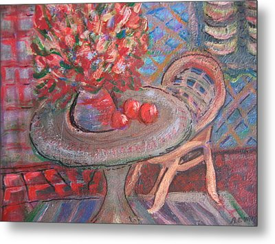 Table With Flowers And Chair Metal Print by Anne-Elizabeth Whiteway