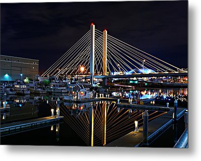 Tacoma Hwy 509 Bridge Up In Lights 1 Metal Print