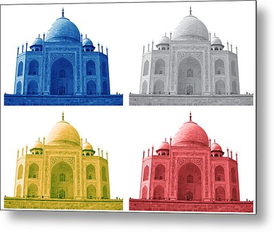 Taj Mahal Colorful Style Metal Print by Atthamee Ni