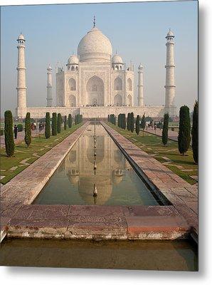 Taj Mahal Reflected Metal Print by Mike Reid