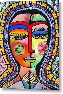 -talavera Virgin Of Guadalupe Enlightenment Metal Print by Sandra Silberzweig