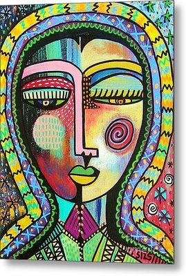 -talavera Virgin Of Guadalupe Protection Metal Print by Sandra Silberzweig