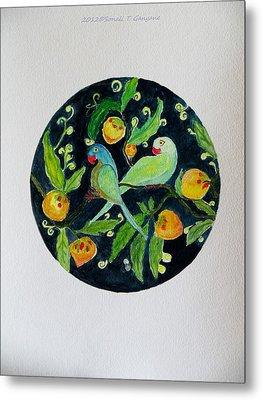 Talkative Parakeets Metal Print by Sonali Gangane