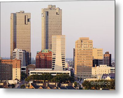 Tall Buildings In Fort Worth At Dusk Metal Print
