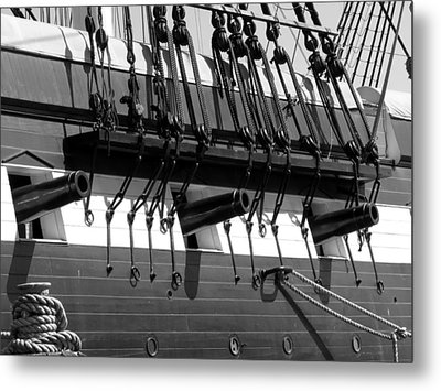Tall Ship Canons Black And White Metal Print by Darleen Stry