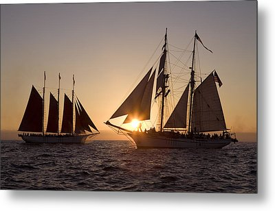 Tall Ships At Sunset Metal Print by Cliff Wassmann