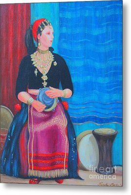 Metal Print featuring the painting Tambourine Lady by Nareeta Martin