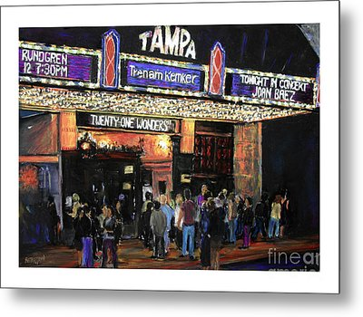 Tampa Theatre Night Lights Metal Print by Barry Rothstein