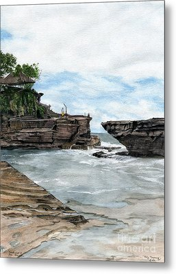 Metal Print featuring the painting Tanah Lot Temple II Bali Indonesia by Melly Terpening