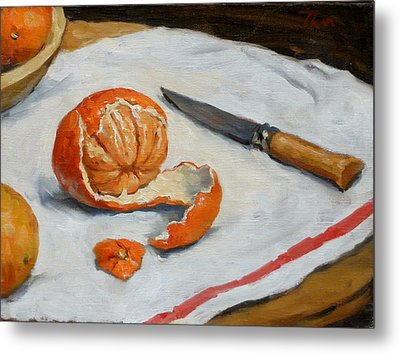 Tangerine And Knife Metal Print by Thor Wickstrom