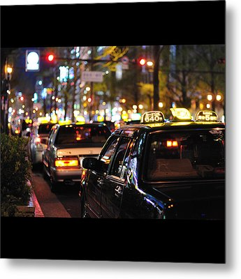 Taxis On Street At Night Metal Print by Thank you for choosing my work.