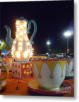 Metal Print featuring the photograph Tea Pot And Cups Ride by Renee Trenholm