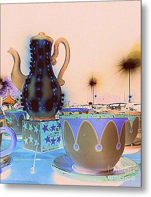 Metal Print featuring the photograph Tea Pot And Cups Ride With Inverted Colors by Renee Trenholm