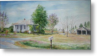 Metal Print featuring the painting Teals Mill Country Home by Gloria Turner