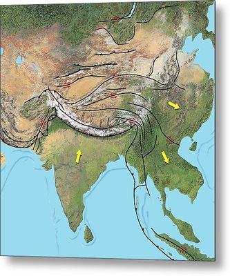 Tectonic Map Of Asia Metal Print by Gary Hincks